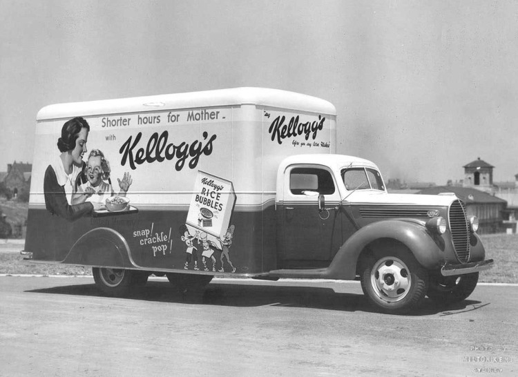 vintage image of a kellogg's truck